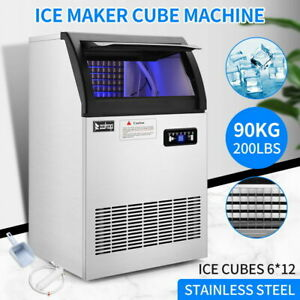 Commercial Grade Ice Maker 200lbs 24h Automatic Clear Cube Ice Making Machine