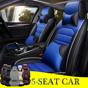 Leather Car Seat Cover Universal Auto Front Rear Sit Protector Full Waterproof