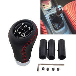 5 Speed Leather Aluminum Manual Shift Knob Gear Stick Shifter Lever Universal