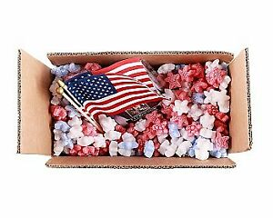 Packing Peanuts Red White Blue Stars 1 5 Cu Ft Compostable Biodeg Void fill