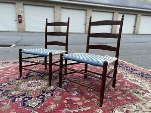 A Very Fine Pair Of Shaker Ladderback Side Chairs 4 Mt Lebanon Ny 1900 S