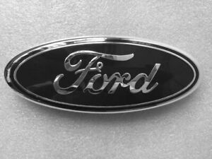 1 Pcs Ford Emblem 9 Inch Oval Black Chrome For Front Grille Rear Tailgate Logo