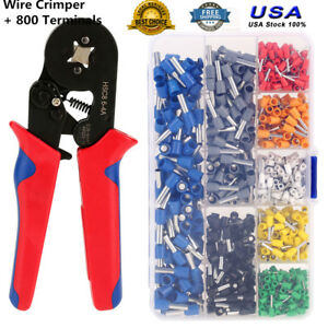 Crimp Tool Kit Ferrule Crimper Plier Stripper 800 Connector Wire Terminal Box