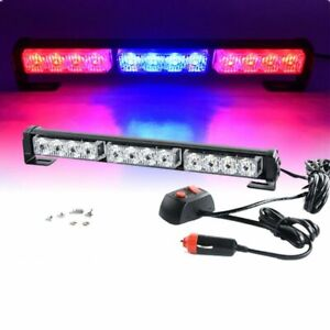 14 Red Blue Red 12 Led Emergency Warning Traffic Advisor Strobe Flash Light Bar