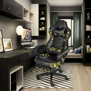 Adjustable Swivel Office Recliner Massage Gaming Chair Computer Seat W Footrest