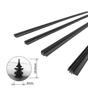 26 6mm Car Rubber Windshield Wiper Blades Refill Frameless Replacement Strips
