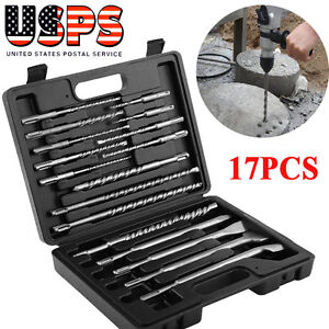 17pcs Sds Plus Rotary Hammer Drill Bits Chisel Set For Concrete Wall 40cr Steel