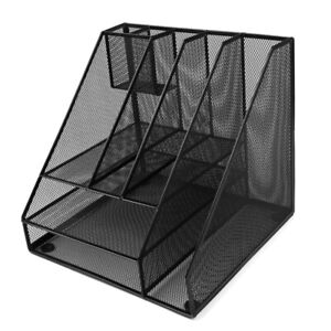 Home Office Multifunctional Metal Mesh 8 Compartments Desk File Organizer Holder