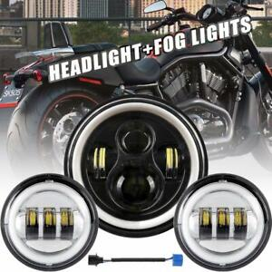 Motorcycle 7 in Led Projector Headlight 4 5 In Fog Light Lamp Fit For Harley
