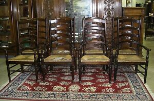 Eight Antique Style Country French Ladderback Dining Arm Chairs Seagrass Seats