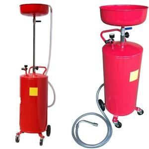 20 Gallon Portable Waste Oil Drain Tank Air Operated Drainage Adjustable Height