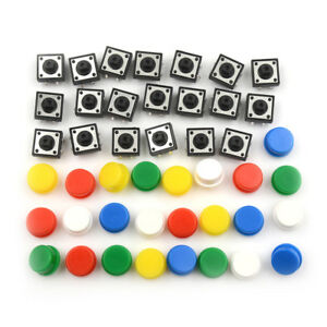 20sets Momentary Tactile Push Button Touch Micro Switch 4p Pcb Caps 12x12xfa