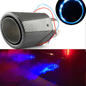 63mm Inlet Car Universal Muffler Carbon Fiber Style Exhaust Pipe R blue Led Lamp