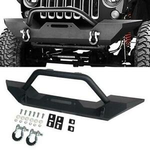 Textured Black Powder Coated Front Bumper For Jeep Wrangler 1987 2006 Tj Yj