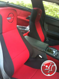Coverking Neosupreme Custom Fit Red Seat Covers For Chevy Corvette C4 With Logo