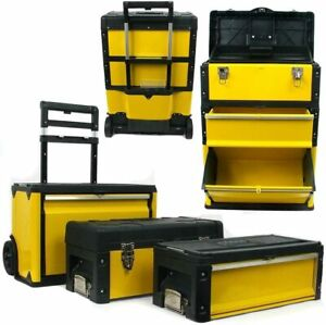 3 In 1 Rolling Tool Box With Wheels Foldable Comfort 3 Pc Black Yellow