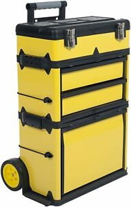 Stackable Toolbox Rolling Mobile Organizer With Telescopic Comfort Grip