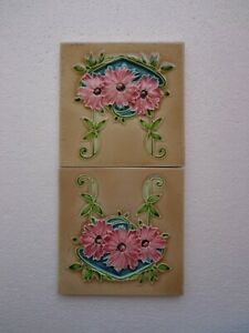 Old Vintage Rare Art Nouveau Majolica Ceramic Tiles Made In England 2 Pc 6x6 H R