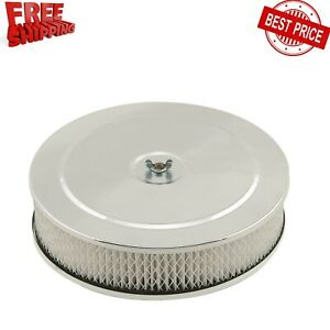 9 Inch Car Round Air Cleaner Assembly Chrome Air Filter Adapter For Crankcase