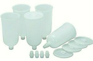 5 Pk 20 Oz Air Spray Gun Disposable Paint Cups With Adapters To Fit Most Brands