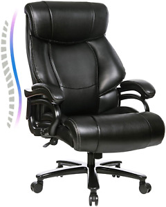 High Back Big Tall 400lb Office Chair Heavy Duty Metal Base And Adjustable T