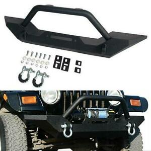 Textured Black Front Bumper W Winch Plate D rings For Jeep Wrangler 87 06 Tj Yj