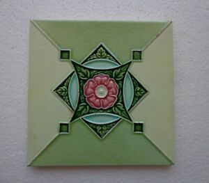 Old Vintage Rare Art Nouveau Majolica Ceramic Tiles Made In England 1 Pc 6x6 H R