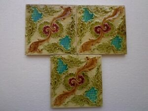 Old Vintage Rare Art Nouveau Majolica Ceramic Tiles Made In England 6x6 Inch
