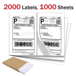 2000 Shipping Labels 8 5 X 5 5 Half Sheets Blank Self Adhesive 2 Per Sheet Us