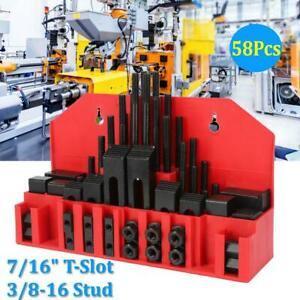 7 16in T Slot Clamp Kit 3 8 16 Stud Hold Down Clamping Machine Mill Drill 58pcs