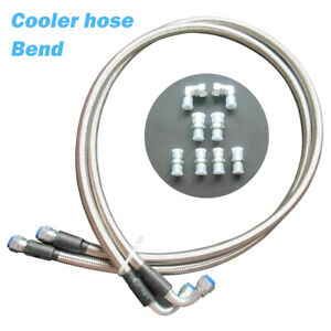 1pair Braided Transmission Cooler Hoses Fittings Kit For Th350 700r4 Th400 A