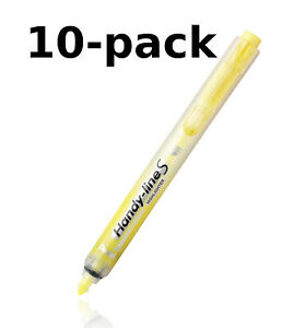 New Pentel 10 pack Handy line S Retractable Permanent Yellow Highlighter Nxs15 g