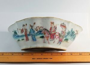 Antique Chinese Famille Rose Porcelain Lobed Bat Bowl Qing Dynasty Tongzhi Mark