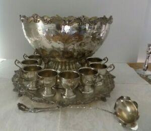 Large Antique Silver Plate Punch Bowl Set Hand Chased 12 Cups Bowl Tray Ladel