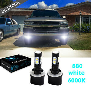 2pcs Front Led 880 6000k White Bulbs Fog Light Cree For Chevy Tahoe 2000 2006