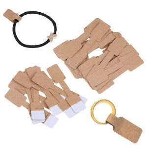 50 100pcs Quadrate Blank Price Tags Necklace Ring Jewelry Labels Paper Stick Wga