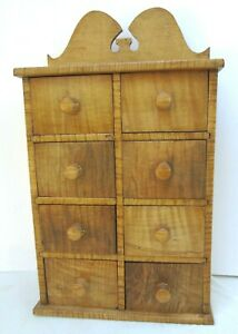 Vintage Handmade Tiger Maple Spice Box 8 Drawers By J Courtney