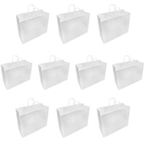 10 Pc White 16 X 6 X 12 Recycled Paper Vogue Shopping Bag