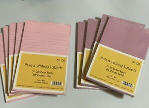 Nine 9 Lined Writing Tablets 60 Sheets Each 5 Pink 4 Purple Paper Pads Lot