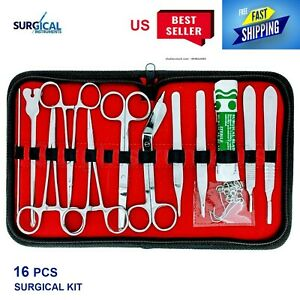 16 Pcs Minor Surgery Set Surgical Instruments Kit Stainless Steel With Case