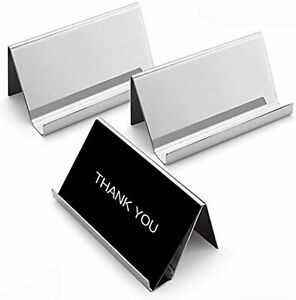 Business Card Holders Stand For Desk 3 Pack Office Stainless Steel Business Car