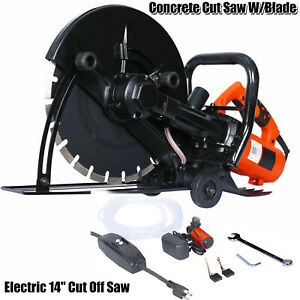 Electric 14 Cut Off Saw Wet dry Concrete Saw Cutter Guide Roller W water Tube