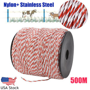500m Roll Polywire Electric Fence Fencing Stainless Steel Poly Wire Insulator Us