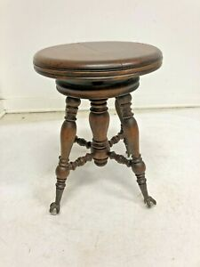 Vintage Wood Piano Stool Organ Claw Foot Victorian Wooden Seat Antique Ball Feet