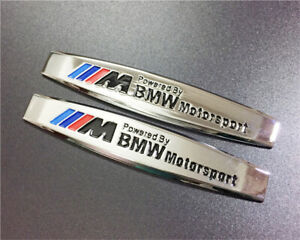 Silver Car Metal Emblem Decals For Powered By Bmw Motorsport Racing Auto Sticker