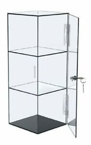 Lockable 6x6x16 Clear Acrylic Display Case With Fixed Shelving