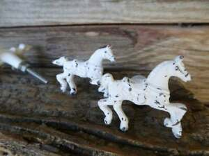 Antique Drawer Pulls Handles Metal Distressed White Horse Cabinet Knobs Lot Of 2