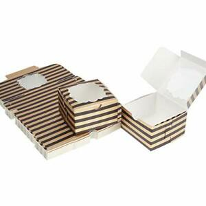 Aekopwera 50 Pack Black Bakery Boxes With Window 4x4x2 5 Inches Pastry Boxes