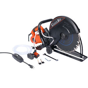Steel Electric Cut Off Saw Wet dry Concrete Saw Cutter Guide Roller W Blade 14