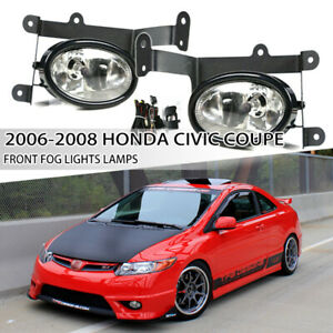 For 2006 2008 Honda Civic Coupe Clear Lens Front Driving Fog Lights Lamps Pair